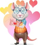 Smart Mouse with Glasses Cartoon Vector Character - Shape 7