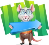 Smart Mouse with Glasses Cartoon Vector Character - Shape 8