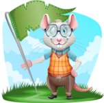 Smart Mouse with Glasses Cartoon Vector Character - Shape 9