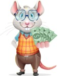 Smart Mouse with Glasses Cartoon Vector Character - Show me the Money