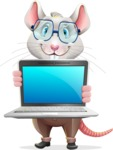 Smart Mouse with Glasses Cartoon Vector Character - Showing a laptop