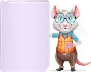 Smart Mouse with Glasses Cartoon Vector Character - Showing Big Blank banner