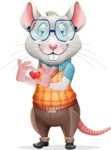 Smart Mouse with Glasses Cartoon Vector Character - Showing Love