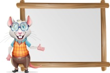 Smart Mouse with Glasses Cartoon Vector Character - Showing on Big whiteboard