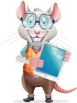 Smart Mouse with Glasses Cartoon Vector Character - Showing tablet