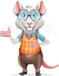 Smart Mouse with Glasses Cartoon Vector Character - Showing with both hands