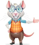 Smart Mouse with Glasses Cartoon Vector Character - Showing with left hand