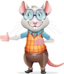 Smart Mouse with Glasses Cartoon Vector Character - Showing with right hand