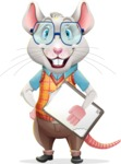 Smart Mouse with Glasses Cartoon Vector Character - Smiling and holding notepad