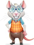 Smart Mouse with Glasses Cartoon Vector Character - Smiling