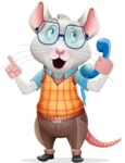 Smart Mouse with Glasses Cartoon Vector Character - Talking on phone