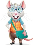 Smart Mouse with Glasses Cartoon Vector Character - Traveling