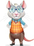 Smart Mouse with Glasses Cartoon Vector Character - Waiting with hands behind back