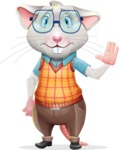 Smart Mouse with Glasses Cartoon Vector Character - Waving for Goodbye with a hand