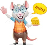 Smart Mouse with Glasses Cartoon Vector Character - Waving for Hello with a hand