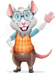 Smart Mouse with Glasses Cartoon Vector Character - Waving