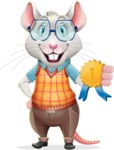 Smart Mouse with Glasses Cartoon Vector Character - Winning prize