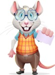 Smart Mouse with Glasses Cartoon Vector Character - with a Blank Business card