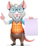 Smart Mouse with Glasses Cartoon Vector Character - with a Blank paper