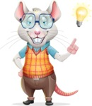 Smart Mouse with Glasses Cartoon Vector Character - with a Light bulb
