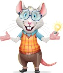 Smart Mouse with Glasses Cartoon Vector Character - with an Idea