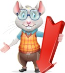 Smart Mouse with Glasses Cartoon Vector Character - with Arrow going Down
