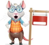 Smart Mouse with Glasses Cartoon Vector Character - with Blank Real estate sign