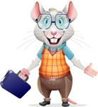 Smart Mouse with Glasses Cartoon Vector Character - with Briefcase