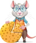 Smart Mouse with Glasses Cartoon Vector Character - with Business graph