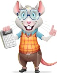 Smart Mouse with Glasses Cartoon Vector Character - with Calculator