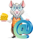 Smart Mouse with Glasses Cartoon Vector Character - with Email sign
