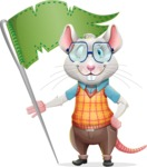 Smart Mouse with Glasses Cartoon Vector Character - with Flag
