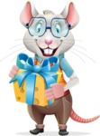 Smart Mouse with Glasses Cartoon Vector Character - with Gift box