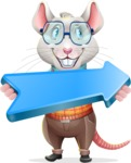 Smart Mouse with Glasses Cartoon Vector Character - with Positive arrow