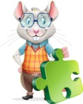 Smart Mouse with Glasses Cartoon Vector Character - with Puzzle