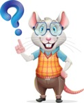 Smart Mouse with Glasses Cartoon Vector Character - with Question mark