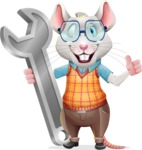 Smart Mouse with Glasses Cartoon Vector Character - with Repairing tool wrench