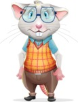 Smart Mouse with Glasses Cartoon Vector Character - with Sad face