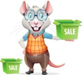 Smart Mouse with Glasses Cartoon Vector Character - with Sale boxes