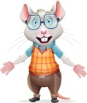 Smart Mouse with Glasses Cartoon Vector Character - with Stunned face