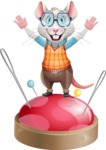 Smart Mouse with Glasses Cartoon Vector Character - with Success on Top
