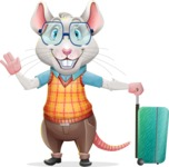 Smart Mouse with Glasses Cartoon Vector Character - with Suitcase