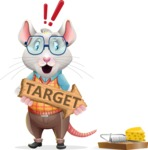 Smart Mouse with Glasses Cartoon Vector Character - with Target