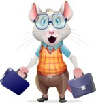Smart Mouse with Glasses Cartoon Vector Character - with Two briefcases