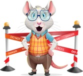 Smart Mouse with Glasses Cartoon Vector Character - with Under Construction sign
