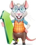 Smart Mouse with Glasses Cartoon Vector Character - with Up arrow
