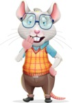 Smart Mouse with Glasses Cartoon Vector Character - Yawning
