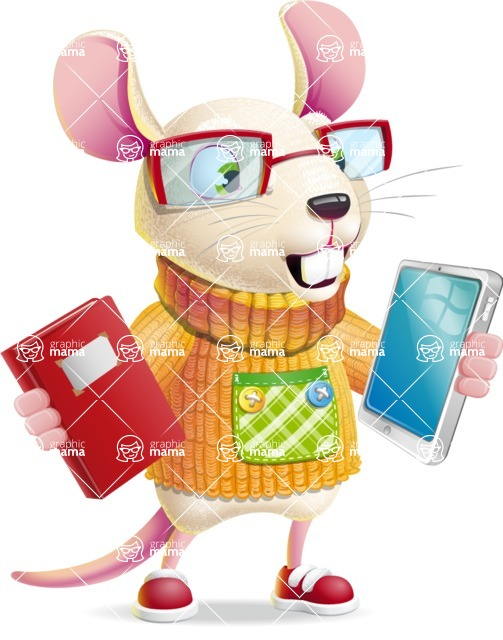 Cute Little Mouse Cartoon Character - Choosing between Book and Tablet