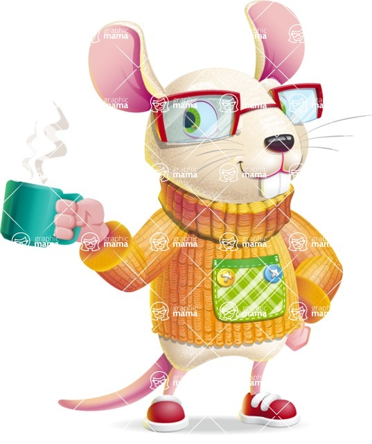 Cute Little Mouse Cartoon Character - Drinking Coffee