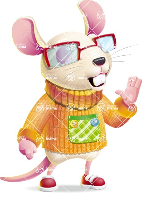 Cute Little Mouse Cartoon Character - Feeling Bored